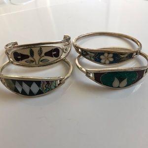 Bundle of 4 stack alpaca silver bracelets